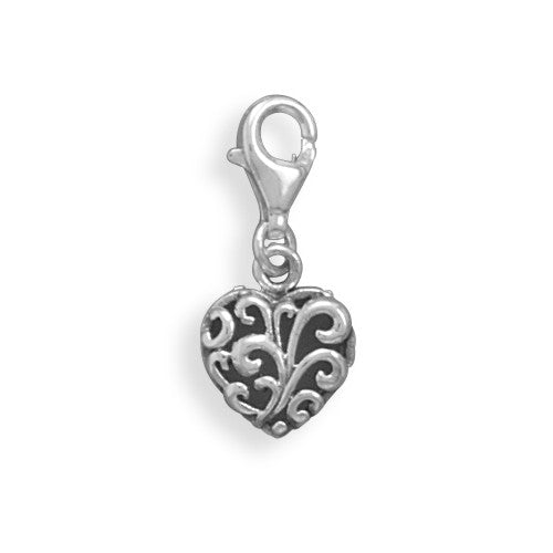 C005047* - Oxidized Filigree Heart Charm