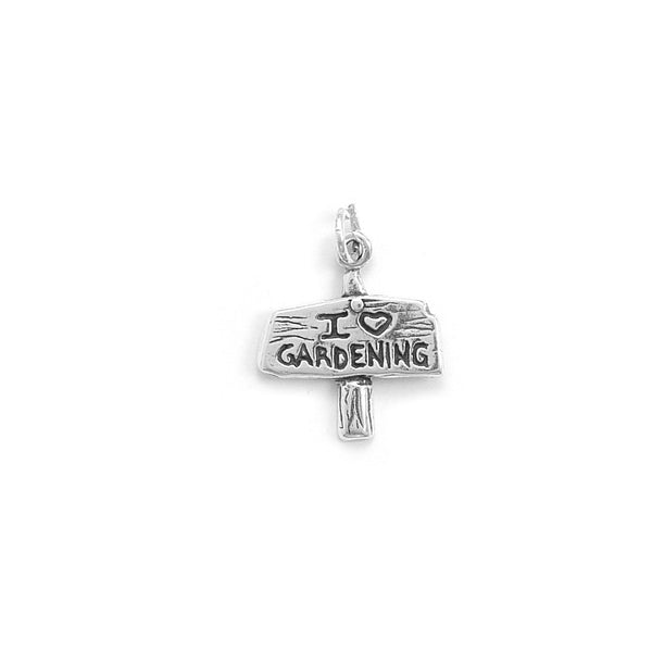 C005077* - Oxidized Sterling Silver 'I Love Gardening' Charm