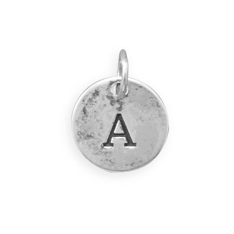 C005085 - Round Oxidized Sterling Silver Letter Charms