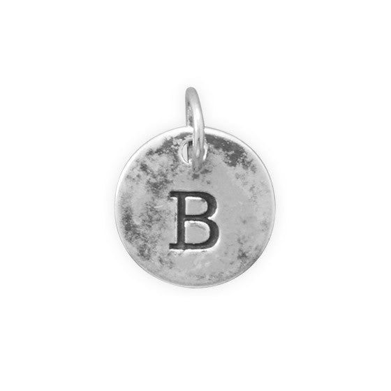 C005085* - Round Oxidized Sterling Silver Letter Charms
