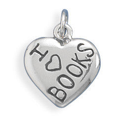 "C005139* - Sterling Silver ""I Love BOOKS"" Charm"