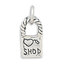 "C005156* - Sterling Silver ""Love to Shop"" Bag Charm"