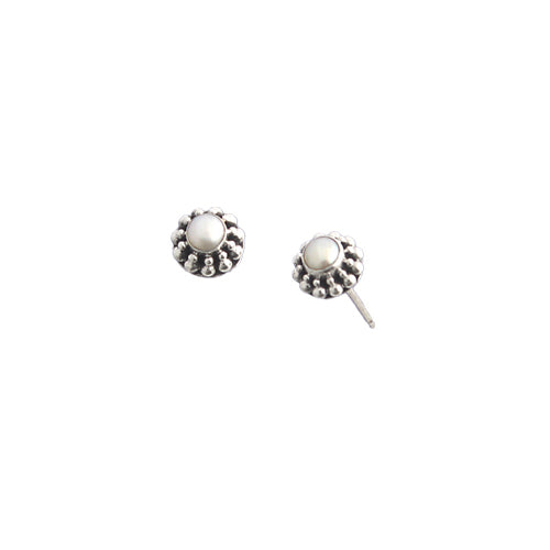 E005346 - White Pearl and Sterling Silver Bead Accent Post Earrings