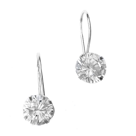 E005344 - 8mm Round Cubic Zirconia and Sterling Silver Euro-back Earrings