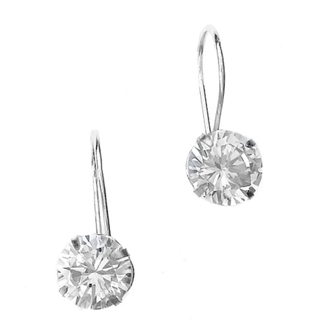22b2ed42b E005344 - 8mm Round Cubic Zirconia and Sterling Silver Euro-back Earrings