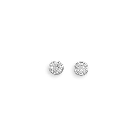 CE05062* - 4mm Round Bezel Set Cubic Zirconia Post Earrings