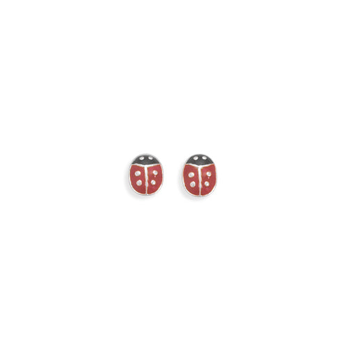 E005348 - Sterling Silver Lady Bug Post Earrings with Red and Black Enamel