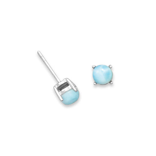 CE05102* - 5mm Round Larimar and Sterling Silver Stud Earrings