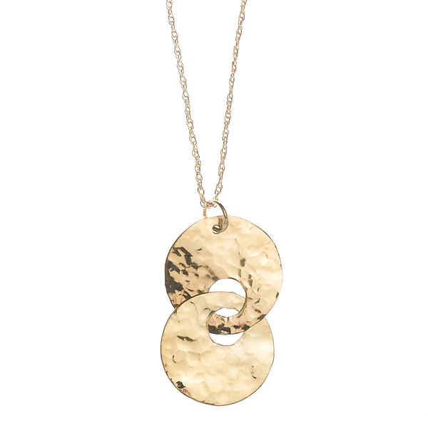 N001012* - Hammered Gold-Filled Double Disc Necklace