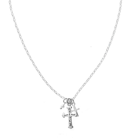 CN02002 - White Pearl & Cross Necklace