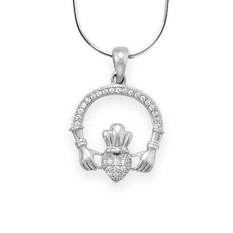 CN05060 - Sterling Silver and Micro Pave Cubic Zirconia Claddagh Slide