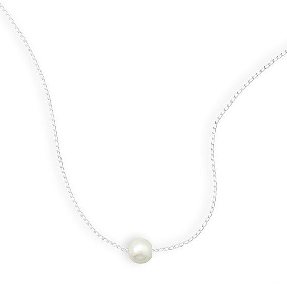N005268 - Sterling Silver link chain with floating Freshwater Pearl Necklace