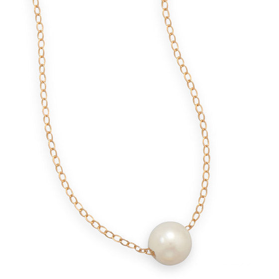 N005270 - Gold-Filled Link Chain with Floating Freshwater Pearl Necklace