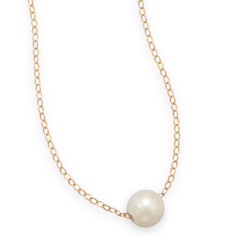CN05071 - 14k Gold-Filled Link Chain with a Floating White Freshwater Pearl