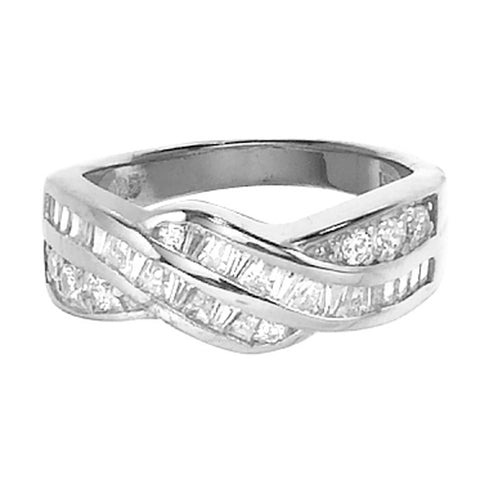 CR05015 - Cubic Zirconia & Sterling Silver Twist Ring