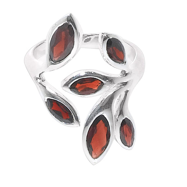 CR05022* - Garnet Floral Design Wrap Ring