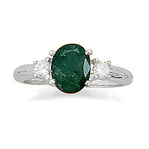 CR05055* - Rough Cut Emerald and Cubic Zirconia Sterling Silver Ring