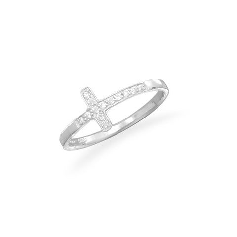 CR05066 - Cubic Zirconia and Sterling Silver Sideways Cross Ring