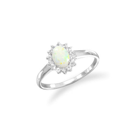 CR05071* - Oval Opal with White Topaz Edge Sterling Silver Ring