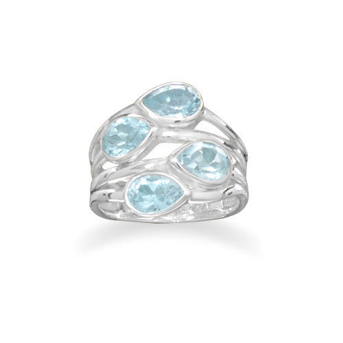 CR05074* - Sterling Silver and Four Pear Shaped Blue Topaz Ring