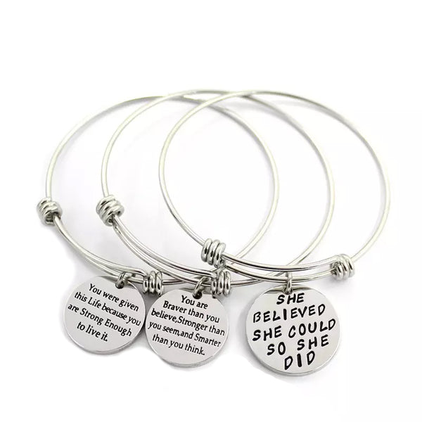 "B073005 - ""She Believed She Could...."" Stainless Steel Adjustable Bracelet"