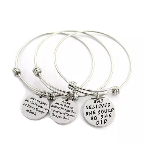 "B073004 - ""You Are Braver Than You Believe..."" Stainless Steel Adjustable Bracelet"