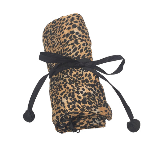 JP063002 - Brown Cheetah Print Jewelry Travel Pouch