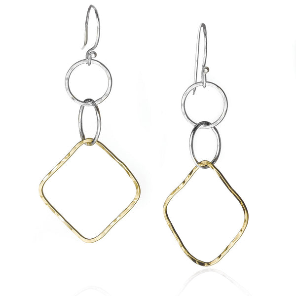 E001066* - Two-Tone Circle and Diamond Shape French Wire Earrings