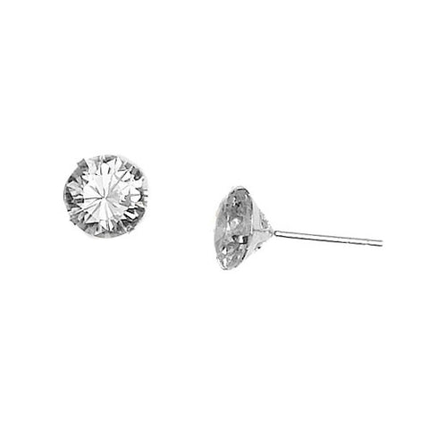 E005030 - 8mm Cubic Zirconia and Sterling Silver Post Earrings