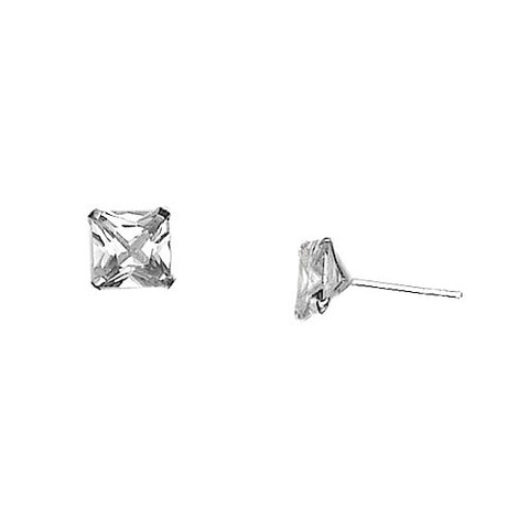 E005136 - Square 6mm Cubic Zirconia and Sterling Silver Post Earrings
