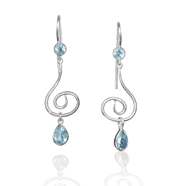 E005140* - Blue Topaz and Sterling Silver Swirl French Wire Earrings