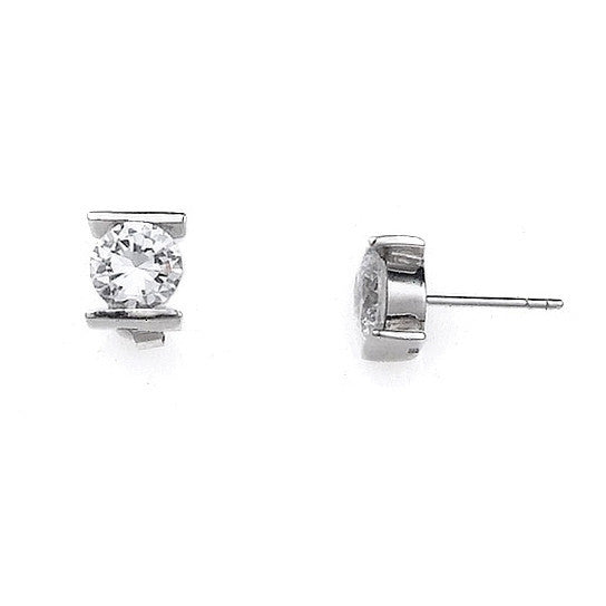 E005160 - 8mm Bar Set Round Cubic Zirconia Post Earrings