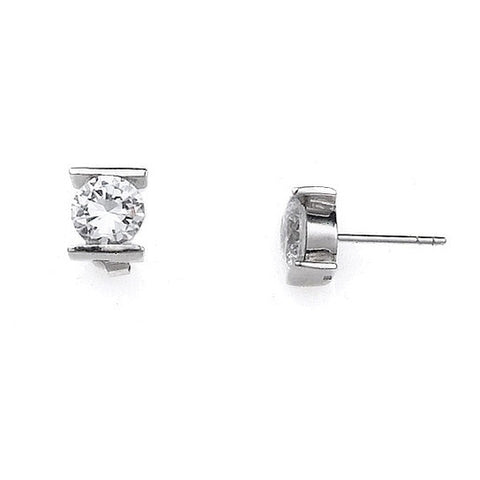 E005160* - 8mm Bar Set Round Cubic Zirconia Post Earrings