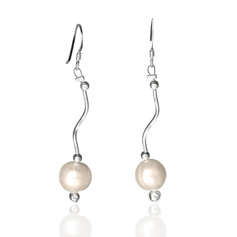 edac00e89 E005185 - White Pearl and Wavy Sterling Silver Earrings