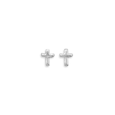 E005204* - Small Polished Sterling Silver Cross Studs