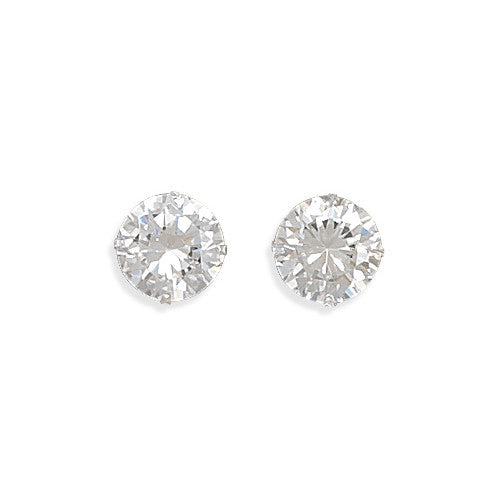 E005241 - 9mm Round Cubic Zirconia and Sterling Silver Post Earrings