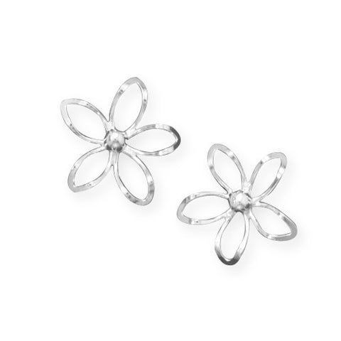 E005254 - Sterling Silver Cut Out Flower Design Post Earrings