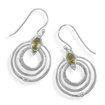 E005276 - Triple Circle Sterling Silver French Wire Earrings with Peridot Stone