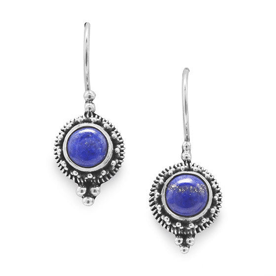 E005278^ - Lapis Stone with Oxidized Sterling Silver Earrings
