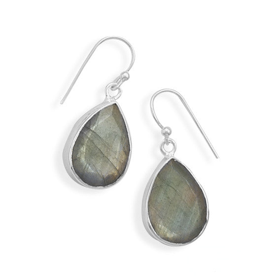 E005281^ - Pear Drop Shape Sterling Silver and Labradorite Stone French Wire Earrings
