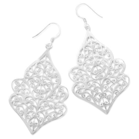 E005307 - Sterling Silver Ornate Cut Out Design French Wire Earrings