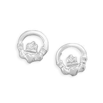 E005312* - Polished Sterling Silver Claddagh Stud Earrings