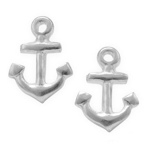 E005313 - Polished Sterling Silver Anchor Stud Earrings