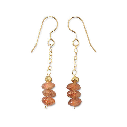 E005316 - 14k Gold Filled French Wire Earrings with Sunstone and Pyrite Beads