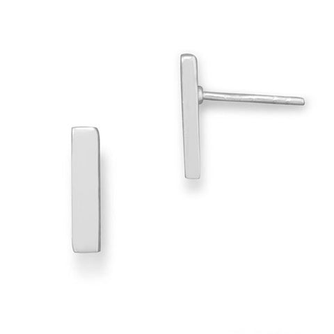 E005317 - Sterling Silver Post Back Bar Stud Earrings
