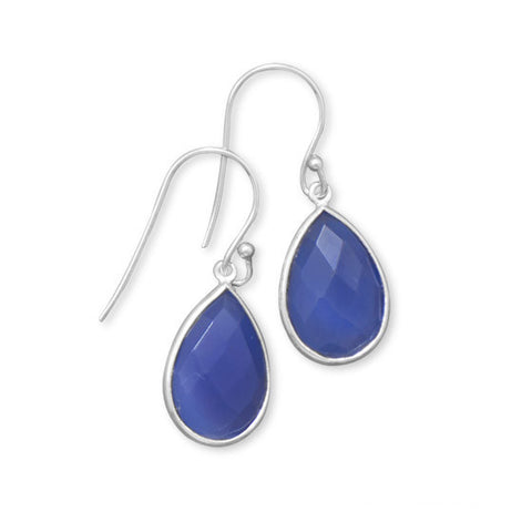 E005324 - Faceted Pear Shape Dark Blue Chalcedony and Sterling Silver French Wire Earrings