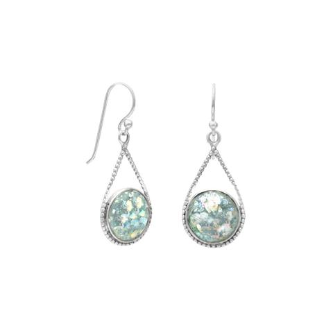 E005362^ - Sterling Silver and Ancient Roman Glass Teardrop Earrings