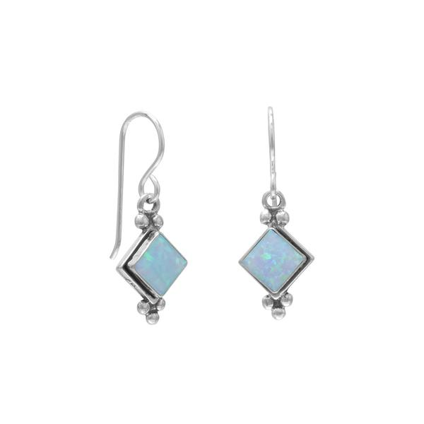 E005372^ - Sterling Silver Diamond Shape Synthetic Blue Topaz French Wire Earrings