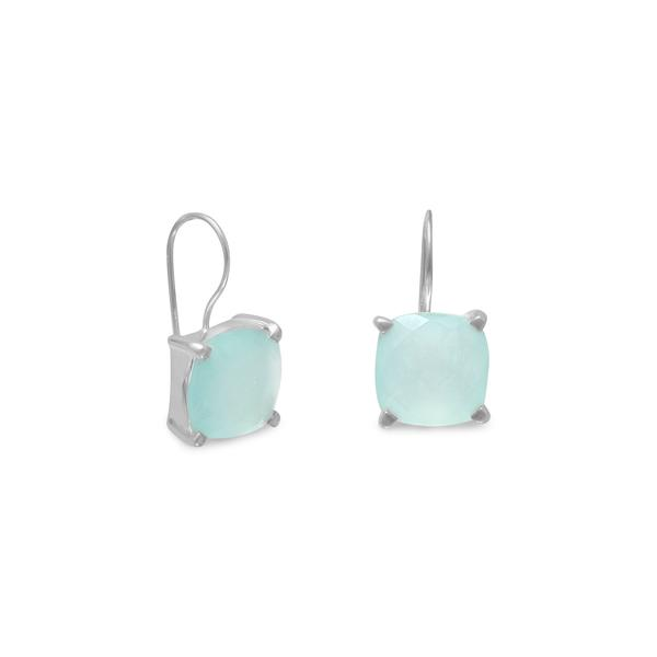 E005381^ - Sterling Silver and Square Chalcedony Earrings