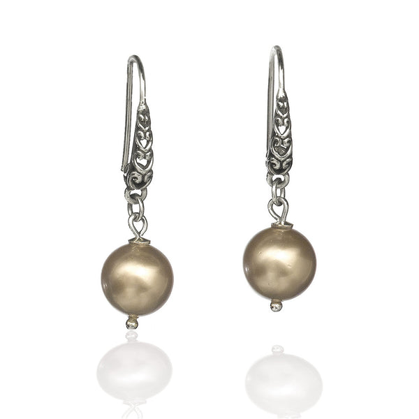 E015027 - Champagne Shell Pearl and Filigree Sterling Silver Earrings